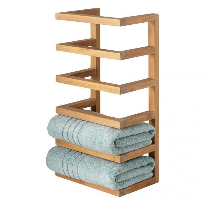 Teak Hanging Towel Rack Bathroom Towel Storage Hanging Towels Diy Bathroom