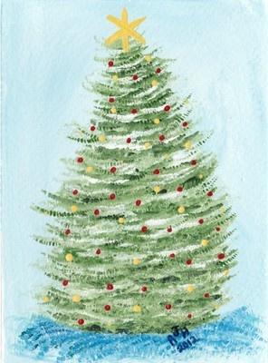 Nfac Christmas Tree Card Hand Painted Acrylic   eBay