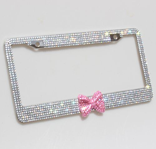 Carfond 7 Row Bling Bling Rhinestones Stainless Steel License Plate Frame With HOT Pink Bow Tie Bonus 2 Screws & 2 Covers White/Pink Carfond http://www.amazon.com/dp/B00X3JJE5W/ref=cm_sw_r_pi_dp_HxtDvb195WP46