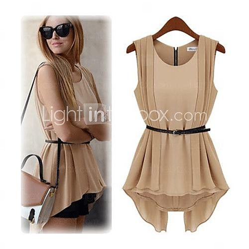 Women's Round Neck Pleated Blouse, Polyester Sleeveless - USD $ 13.99