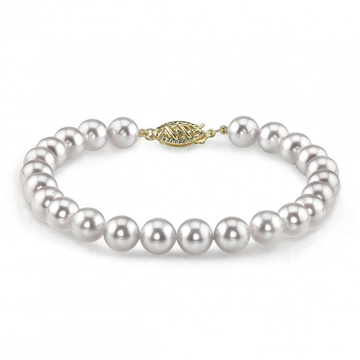 14K Gold 6.0-6.5mm Japanese Akoya White Cultured Pearl Bracelet * Continue to the product at the image link. (This is an Amazon Affiliate link and I receive a commission for the sales)