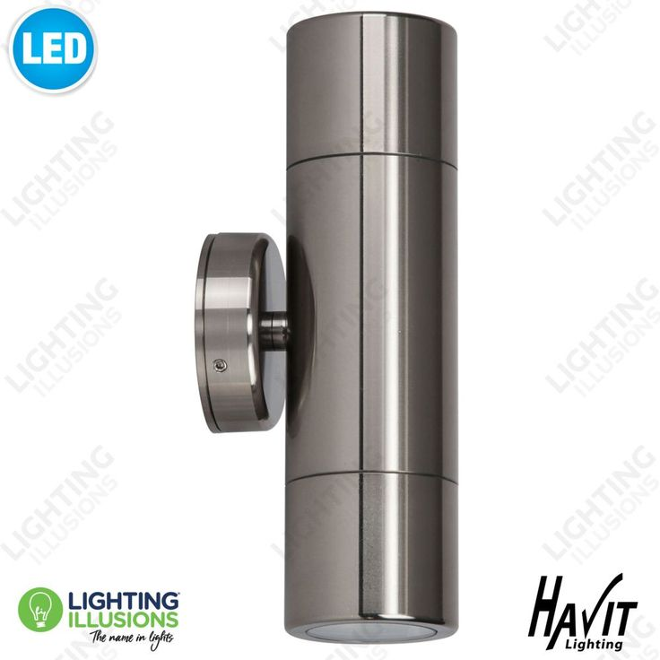 2X5W LED Cool White Titanium Exterior IP65 Up/Down Pillar LED Light 240V GU10