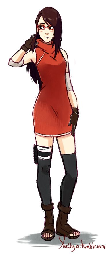 Uchiha Sarada: Time-Skip As promised here is our beloved Salad (Still can't get over her name) I don't know the exact age difference between her and Himawari but I imagine her to be 19 here. She is a...