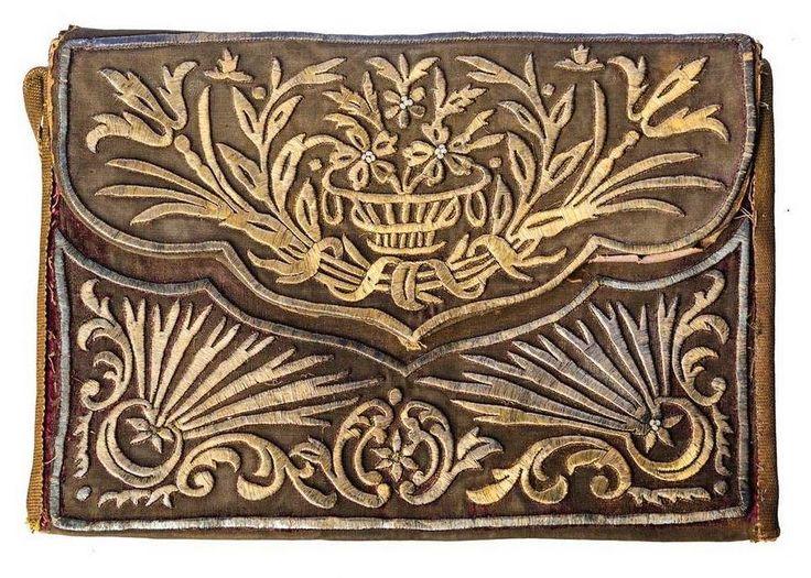 Late-Ottoman women's handbag.  Adorned with goldwork embroidery (technique: 'sarma' / 'Maraş işi').  1850-1900.