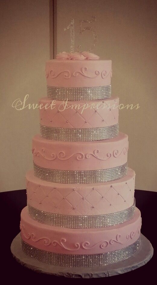 15th birthday or quinceanera pink cake with some bling used for a Paris themed birthday celebration - 300 pcs