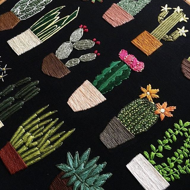 """Close up of """"Just Enough Cacti"""" (sold).  ORDERS: Sorry guys! I'm just too busy at the moment to take custom orders because of uni and my part-time job. In the next month or so, I hope to be taking orders again  . . . . . . . . . #embroidery #handembroidery #hoopart #art #artist #etsyseller #etsy #handmade #craft #plants #cacti #succulents #flowers #nature #garden #design #sewing #textiles"""