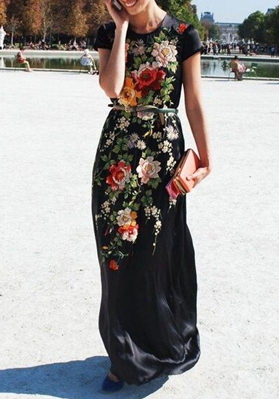 Black Floral Print Round Neck Short Sleeve Maxi Dress