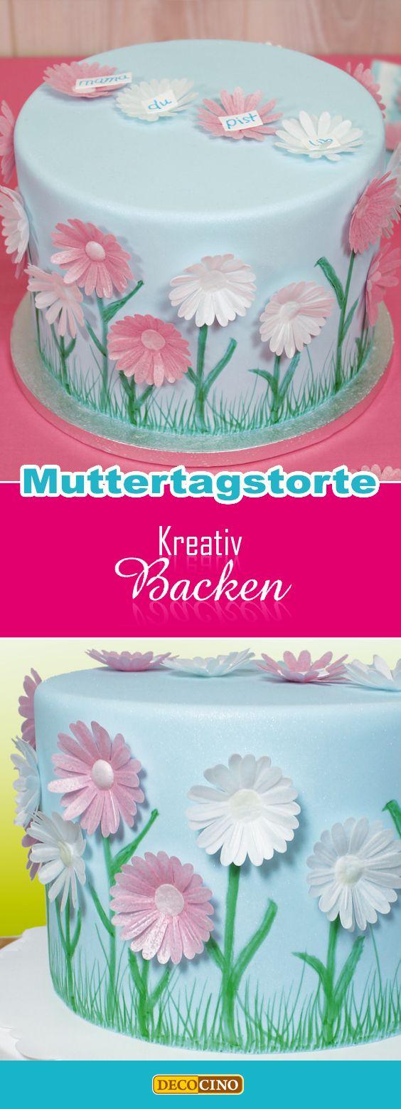 Muttertagstorte mit zarten DECOCINO Oblaten-Blüten dekorieren und Lebensmittelfarbstiften bemalen