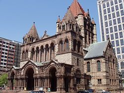 This is the Trinity Church located in Boston Massachusetts. It was designed by Henry  Hobson Richardson and was complete in 1877.  This church gave Hobson a style identity. Part of his style was using a clay roof and a huge tower.