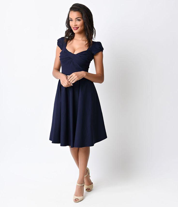 Stop Staring! Exclusive 1940s Navy Billion Dollar Baby Swing Dress