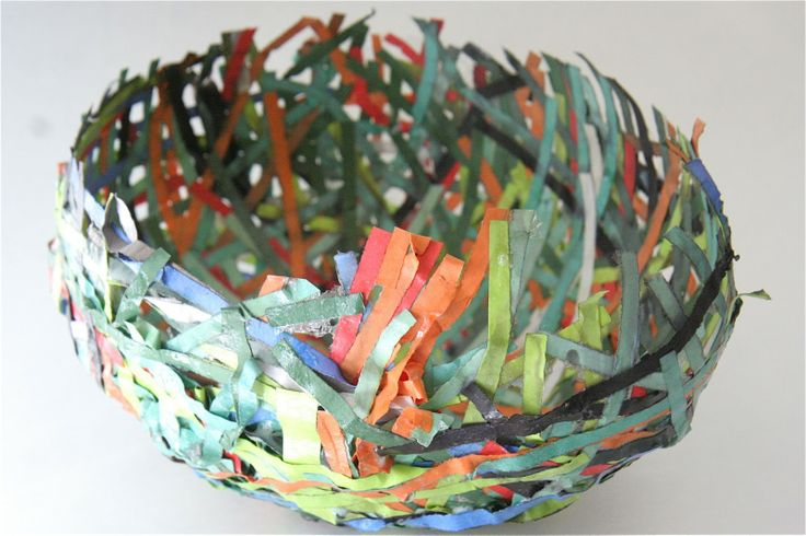 Paper Mache Bowls with shredded paper