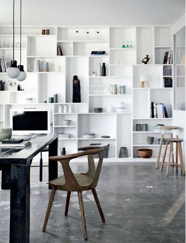 Full Wall Bookcase of Painted MDF in Renovated Farmhouse in Denmark, Remodelista