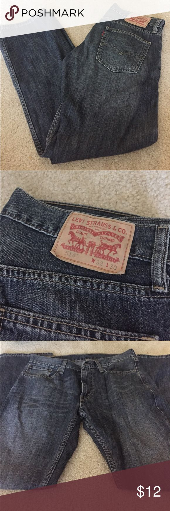 Mens Levi Jeans Men's Levi Straight Fit Jeans. Washed out blue jeans. Style 514, size W32 L30. Great condition - no rips or tears! Levi's Jeans Straight