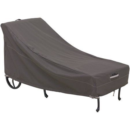 Classic Accessories Ravenna Chaise Lounge Furniture Storage Cover For Hampton Bay Fall River Adjustable Patio Chaise Lounge, Gray