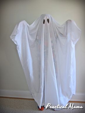 Easy ghost costume for kids. Ideal if you've been feeling less crafty or waited until the last minute.
