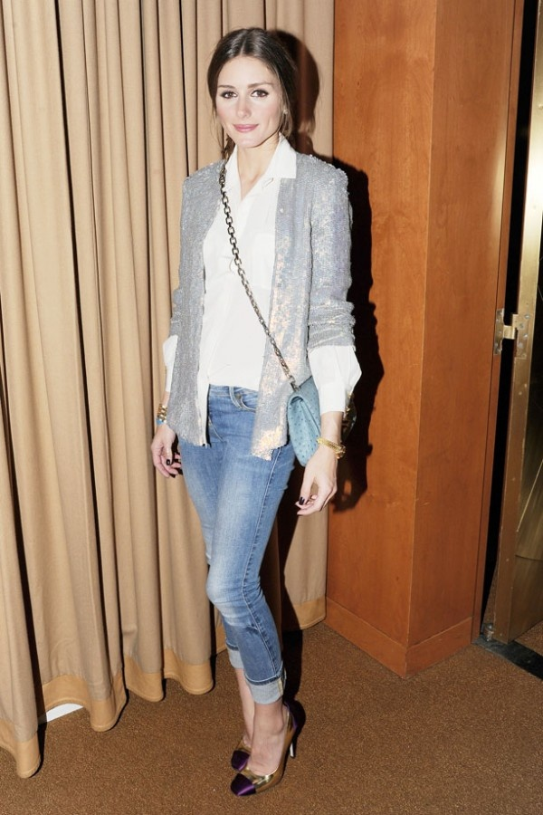 Olivia Palermo in jeans with a sequin blazer. Love her look!