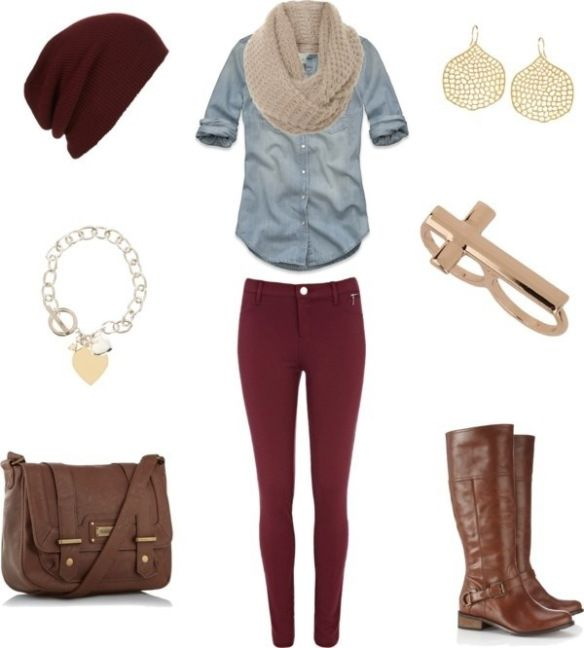 burgundy skinny jeans, light chambray shirt, tan infinity scarf, brown knee boots, burgundy slouch beanie