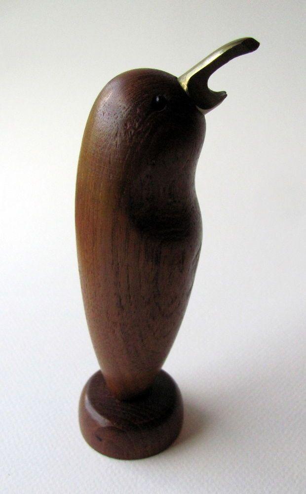Mid Century Modern Vintage Teak Bird Corkscrew and Opener Danish Style
