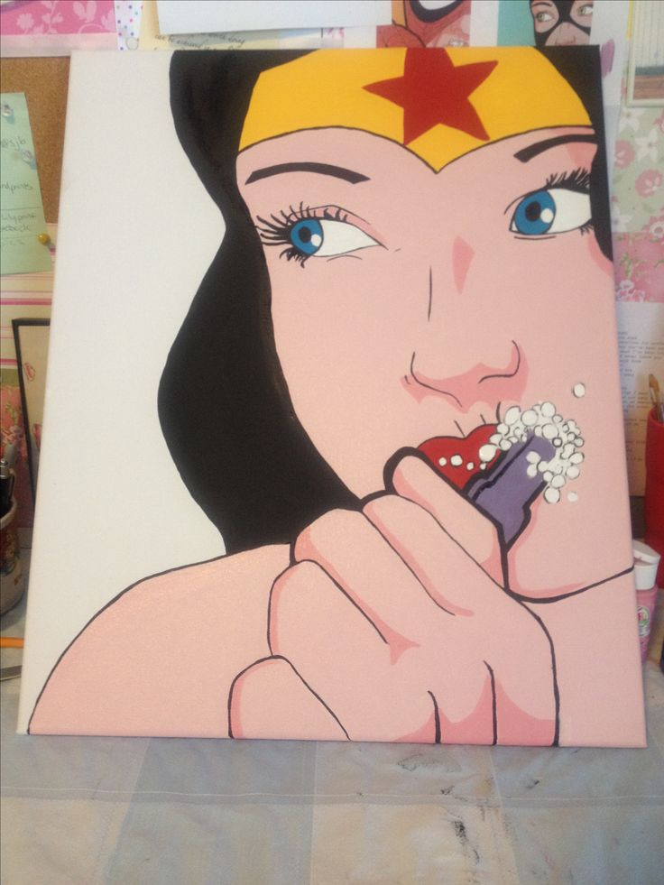 Created for my kids unisex bathroom. This is Wonderwoman brushing her teeth, it's paired with Spiderman brushing his teeth