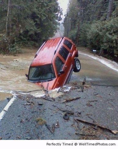 Why traveling on flooded roads is a bad idea – Apparently this SUV driver though the vehicle can tackle any terrain. This is when that trek goes horribly wrong.