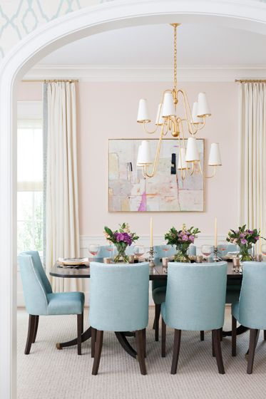In The The Owners Table Is A Chic Ebony Paired With Chairs In Pale Blue Fabric By Jane Churchill Interior Design By Erica Burns Interiors