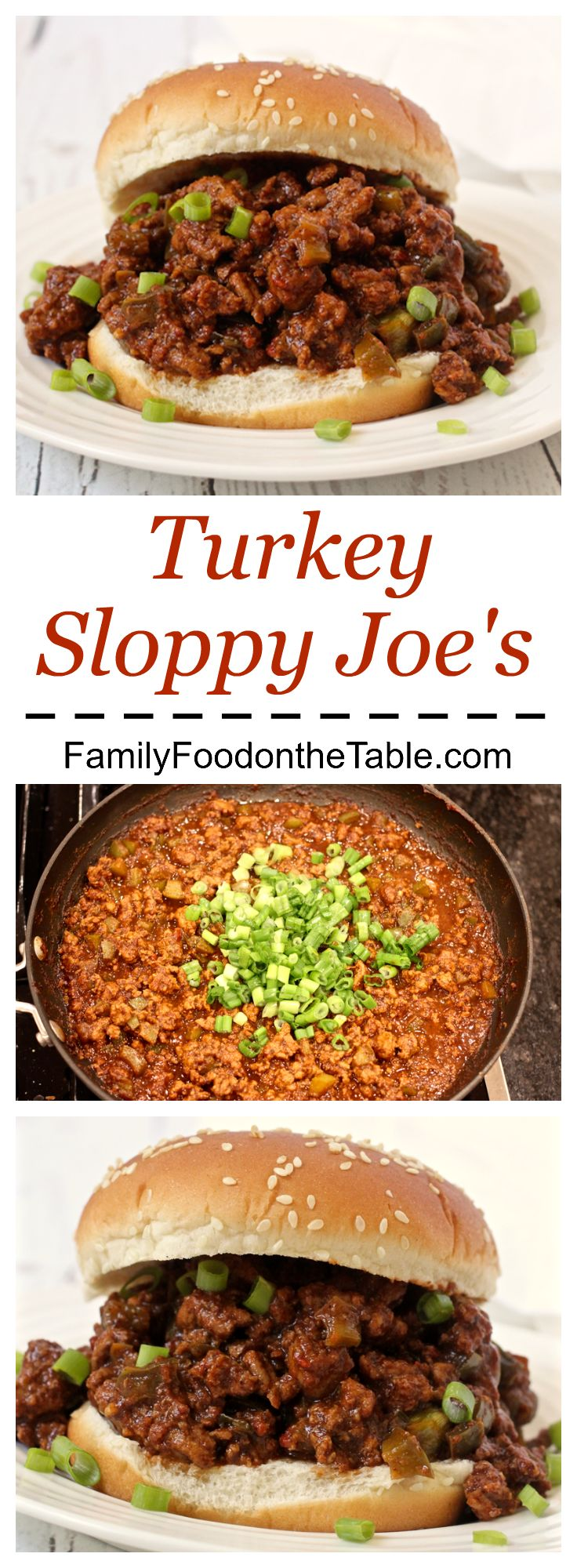 Make them spicy or not, but these turkey sloppy Joe's will be a family favorite!   FamilyFoodontheTable.com