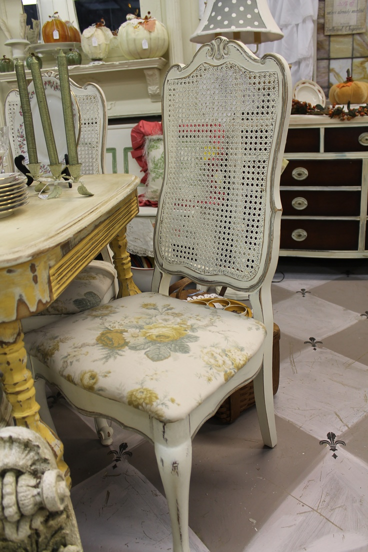 French Cane Back Chairs ~ ASCP Old White And French Linen.  Www.tatteredelegance.