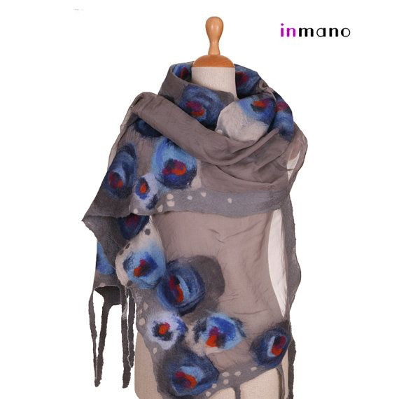 gray and blue circles III - silk and wool nuno felted scarf by inmano on etsy.com