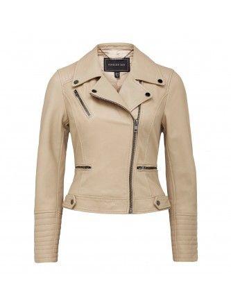 Lara leather biker jacket Back Image