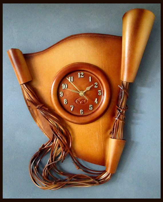 Large Handmade Wall Clock made from leather RRP AUD 149 Unique Valentine's Day GIFT *Wholesale Prices* Price : AUD 74.99 + postage