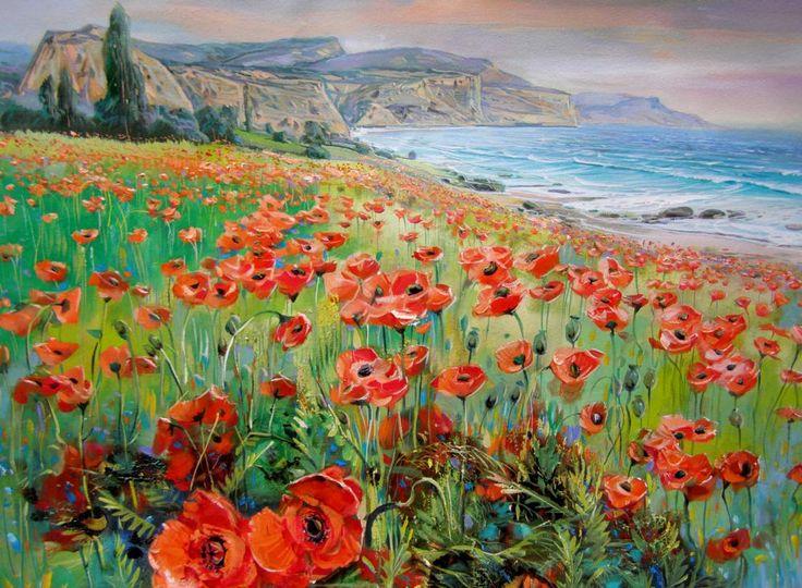 Купить репродукцию картины «Маки на побережье» | Постер на стену…