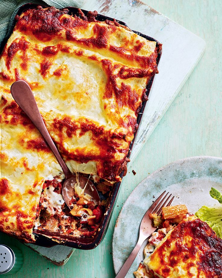 We've swapped the traditional meat sauce for one with lentils and roasted vegetables for hearty, flavoursome vegetarian lasagne. This dish is the pref