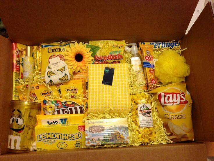 "Care package. A box of sunshine ""a chemotherapy care package"""