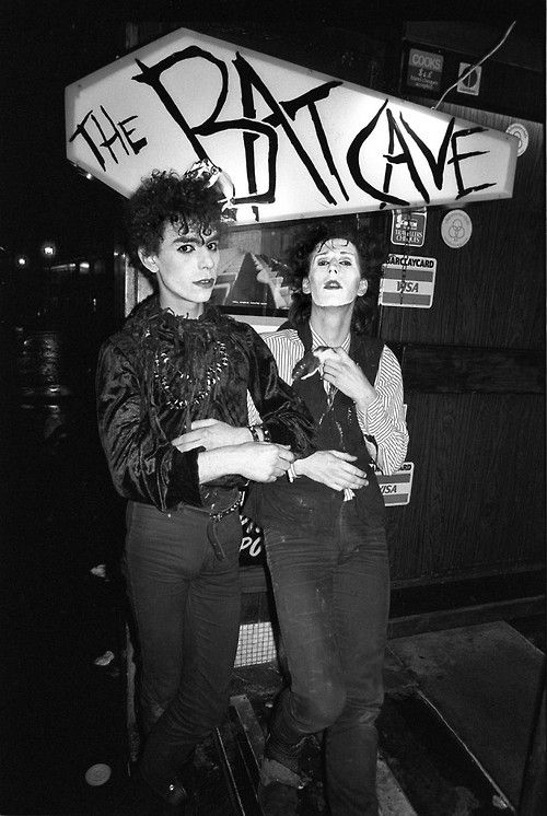 Olli Wisdom, member of Specimen and founder of The Batcave, and Nik Fiend, of Alien Sex Fiend, at The Batcave Club, 1982, by Derek Ridgers