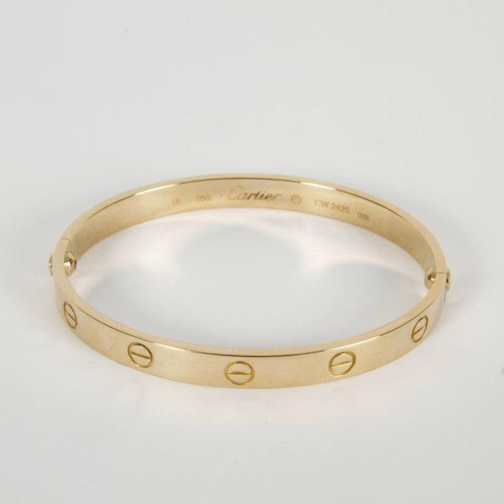Brazalete CARTIER Love de oro de 18 quilates. Diámetro: 58,50 mm. Alto: 6,00 mm. Grosor: 2,00 mm. Peso: 33,20 gramos. #JoyasOro #Oro #Cartier #segundamano