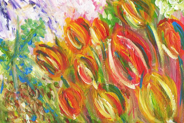 Beautiful Tulips painting acrylic