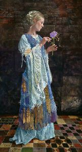 """The Beggar Princess and the Magic Rose - Sold out  by James C. Christensen Ltd. Ed. CANVAS Image size: 10""""w x 18""""h. Ltd. Ed of: 650 Selling for $800. US - my price $495.00 shipping included, new in wrapper.   A beautiful young woman in tattered finery stands in a dark castle hall, holding a wilting rose as its petals shed flakes of gold. The elements of the story seem familiar enough — a princess, a flower, a ruined castle.There is no story . . . yet."""