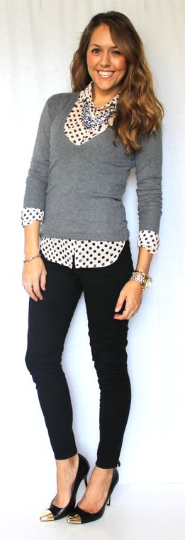 Have been looking for black/white polka dot shirt or pink/black one for capsule wardrobe