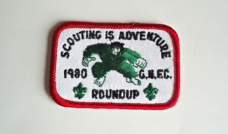 Vintage Boy Scouts Patch Badge Scouting is Adventure Roundup 1980 Embroidered by treasurecoveally on Etsy