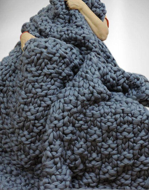 Chunky couverture couverture de laine mérinos par JennysKnitCo