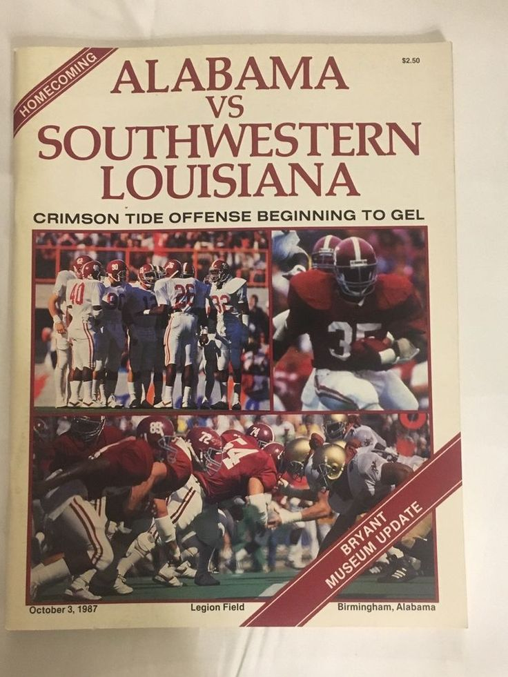 Alabama - Southwestern Louisiana Homecoming Football Game Program Oct 3, 1987  | eBay
