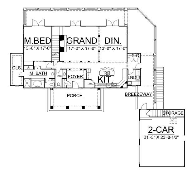 Open floor plan breezeway in law suite house plans i for Cape cod house plans open floor plan