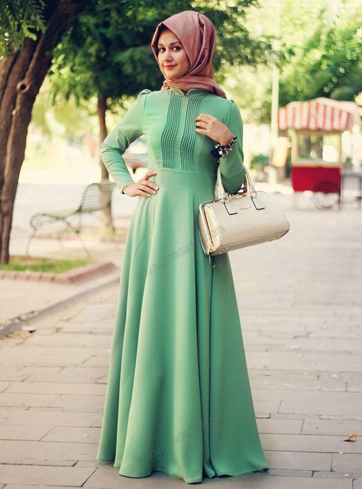 Ribbed Dress - Green - Minel Aşk