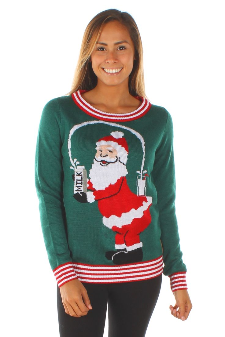 Santa's milkshake brings all the elves to his yard in this horrifically ugly Christmas sweater. You know he's probably been photo-shopped to within an inch of his life, but you just can't look away.
