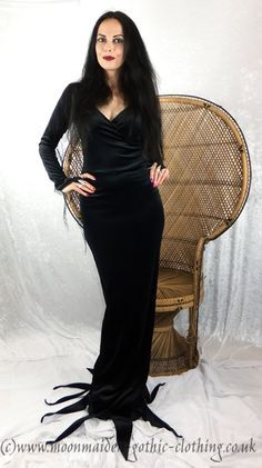 Moonshadow Morticia Dress - Morticia Addams Costume by Moonmaiden Gothic Clothing