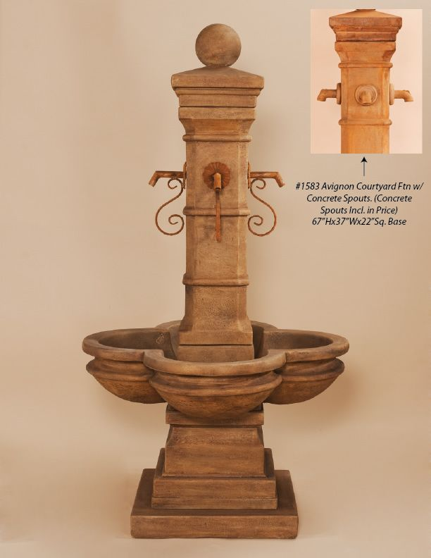 Outdoor Backyard And Patio Cast Stone Water Feature: Giannini Garden  Ornaments: Avignon Courtyard Fountain