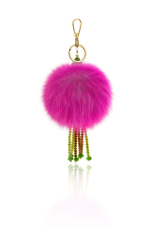 Pompon Bag Charm with 12cm fuchsia real fox fur, metal ring and clip, crystal beads and decorative elements. Price: 39.00E