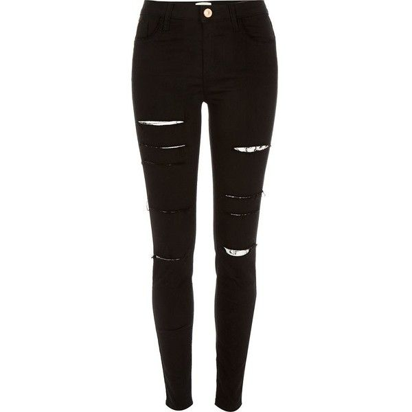 River Island Black ripped Amelie superskinny jeans ($90) ❤ liked on Polyvore featuring jeans, pants, bottoms, black, skinny jeans, women, tall jeans, distressed skinny jeans, black denim skinny jeans and distressed jeans
