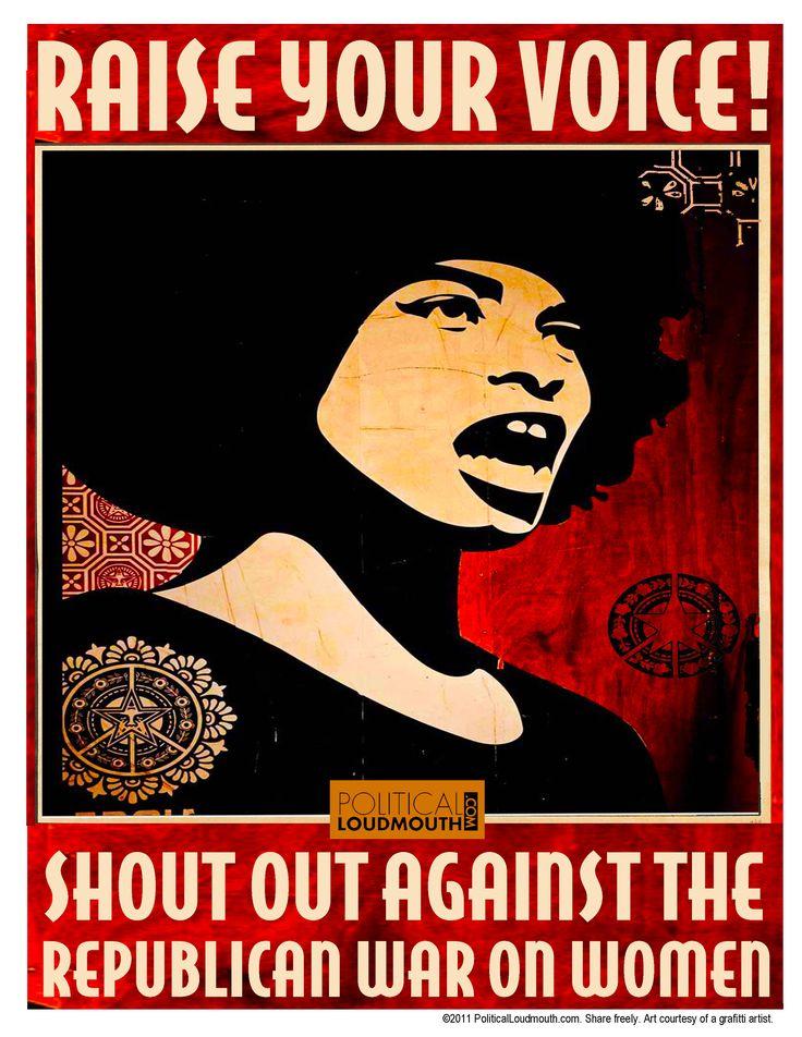 Gotta love Shepard Fairey.: Voice Womensright, Woman, Feminist Ideasoh, Graphics Design, Black-Ti Affair, Angela Davis, Black Quotes, War, Voice Women S Rights
