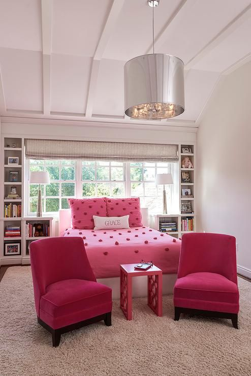 pink-pom-pom-bedding-hot-pink-velvet-slipper-chairs-built-in-bookcase